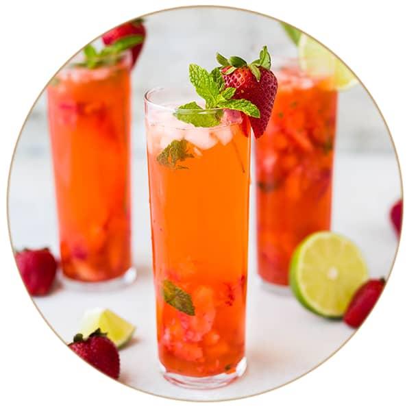 Gin Tonic Rhabarber Erdbeer