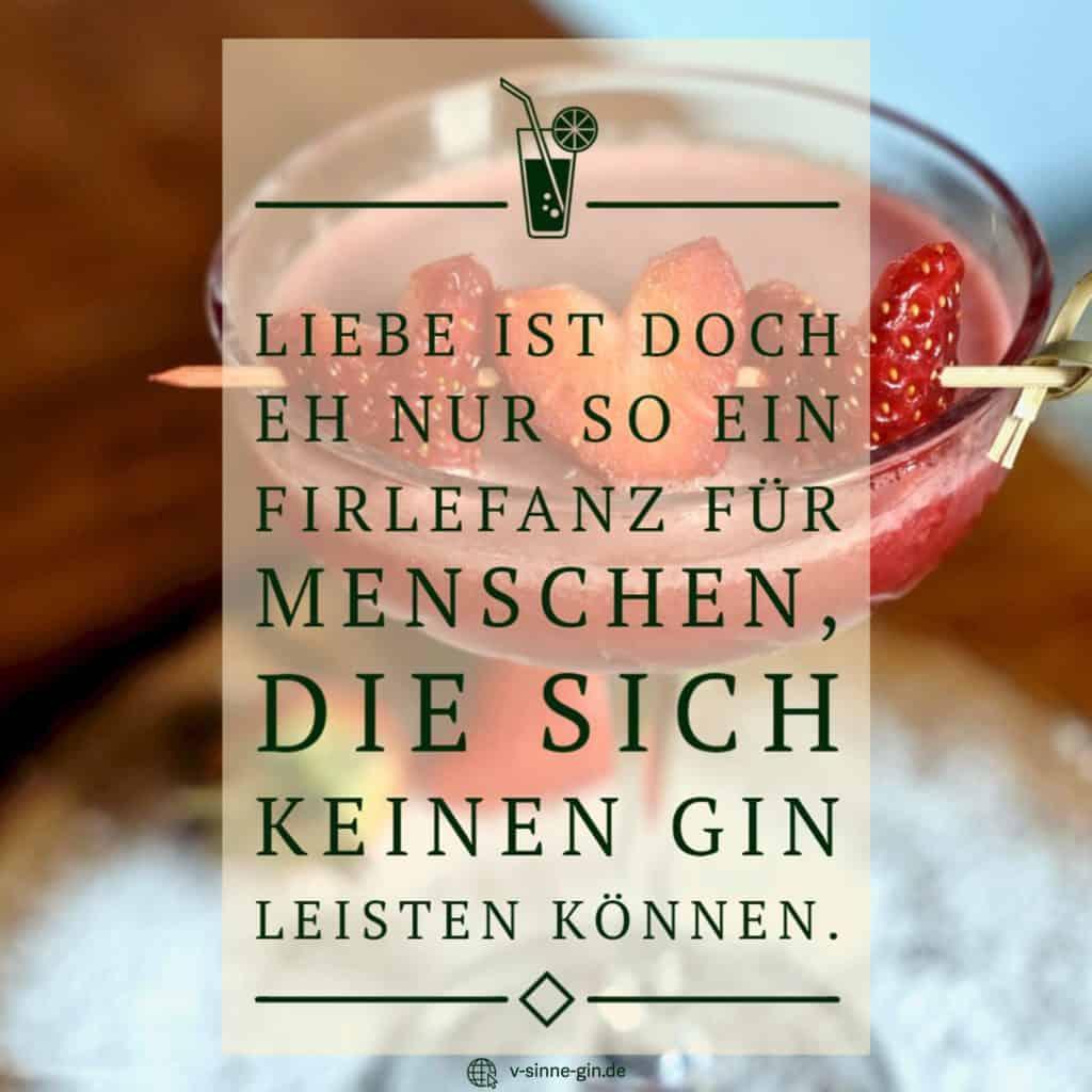 Gin Spruch: Liebe ist doch eh nur so ein Firlefanz für Menschen, die sich keinen Gin leisten können.