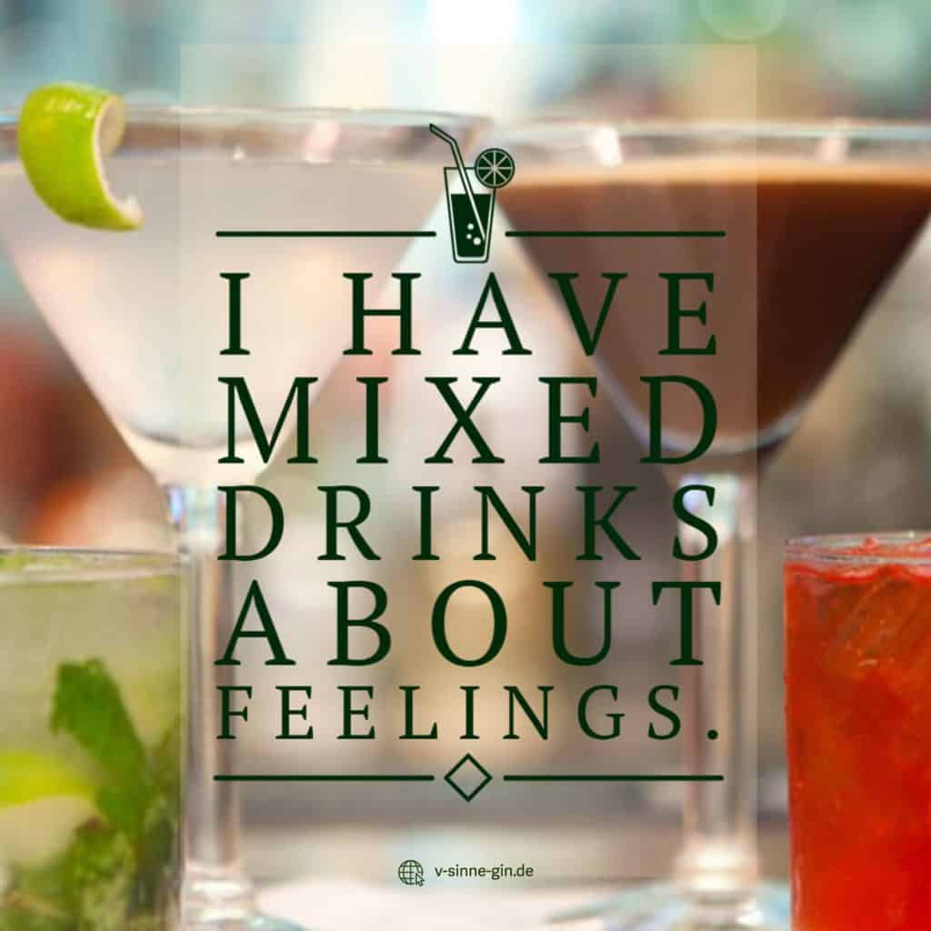 Gin Spruch: I have mixed drinks about feelings.